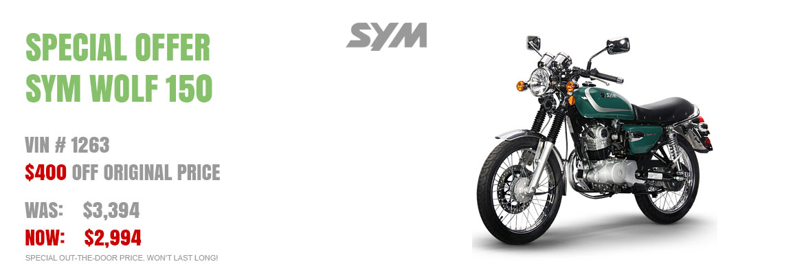 Save $400 on a New SYM Wolf Classic 150