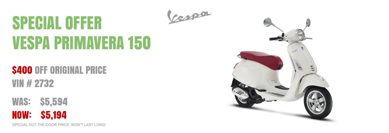 Save $400 on a New 2016 Vespa Primavera 150 White