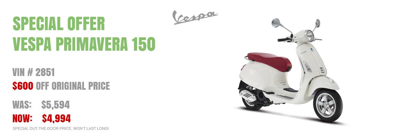Save $600 on a New 2016 Vespa Primavera 150 White