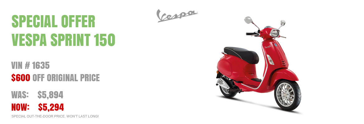 Save $600 on a New 2016 Vespa Sprint 150 Red