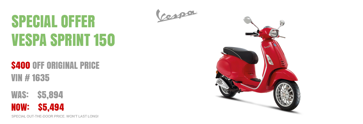Save $400 on a New 2016 Vespa Sprint 150 Red