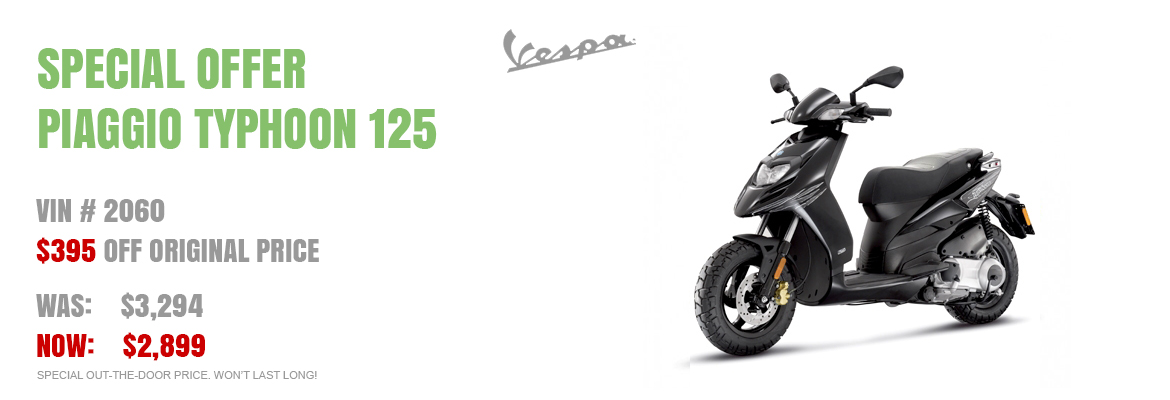 Save $395 on a New 2016 Piaggio Typhoon 125