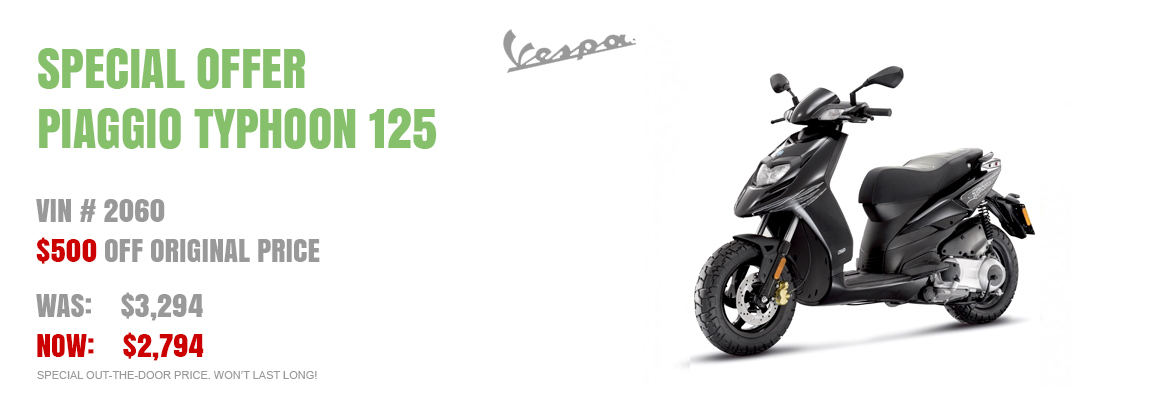 Save $500 on a New 2016 Piaggio Typhoon 125