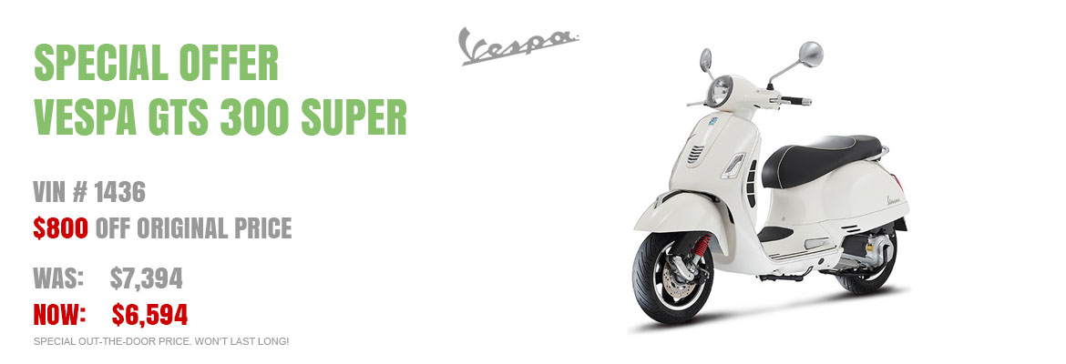 Save $800 on a new 2016 Vespa GTS 300 Super