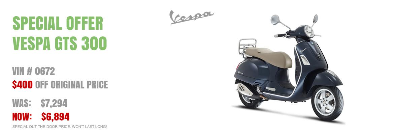 Save $400 on a new 2016 Vespa GTS 300