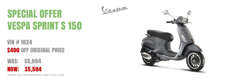 Save $400 on a New 2016 Vespa Sprint 150 Titanium