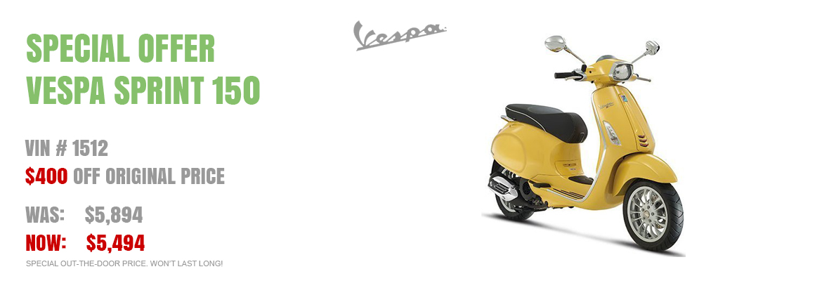 Save $400 on a New 2016 Vespa Sprint 150 Yellow