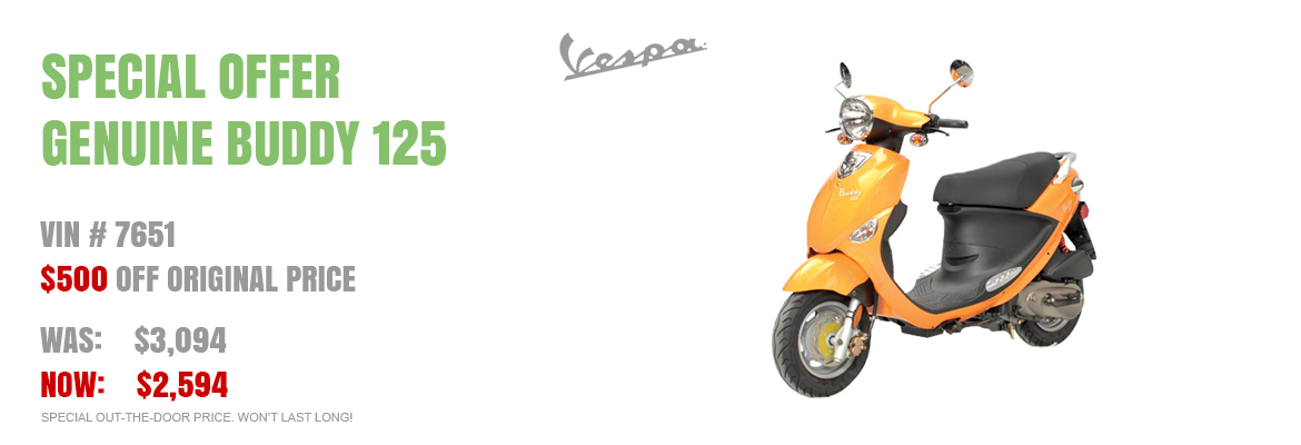 Save $500 on a new 2016 Buddy 125