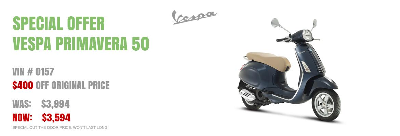 Save $400 on a New 2015 Vespa Primavera 50 Midnight Blue