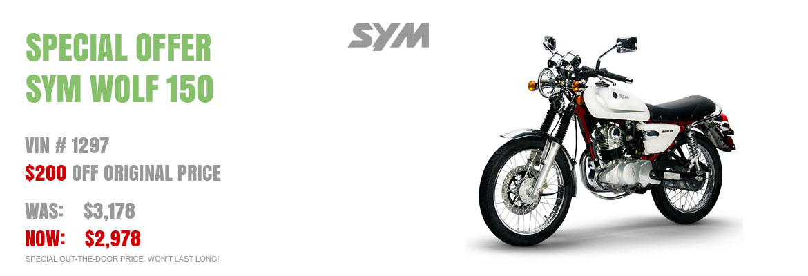 Save $200 on a New SYM Wolf Classic 150