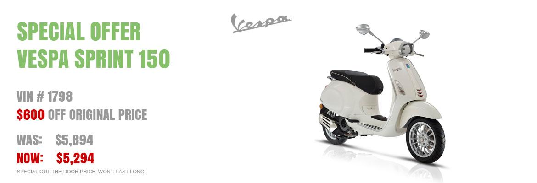 Save $600 on a New 2016 Vespa Sprint 150 White