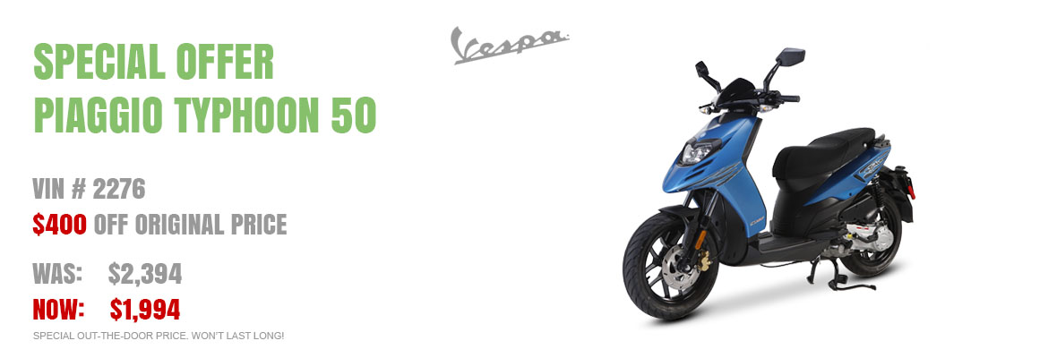 Save $400 on a New 2015 Piaggio Typhoon Blue