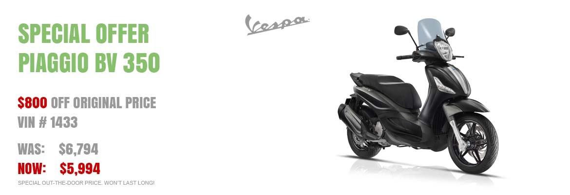Save $800 on a New 2016 Piaggio BV 350