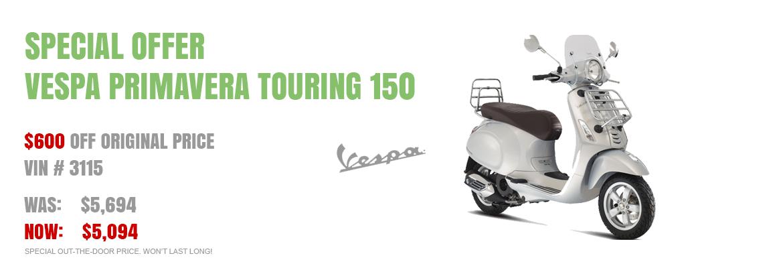 Save $600 on a New 2016 Vespa Primavera Touring 150 Silver