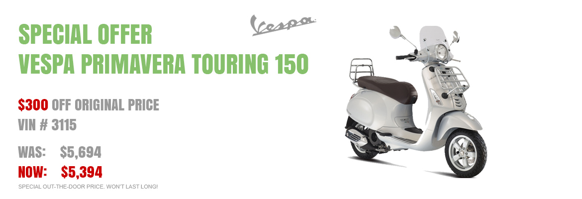 Save $300 on a New 2016 Vespa Primavera Touring 150 Silver