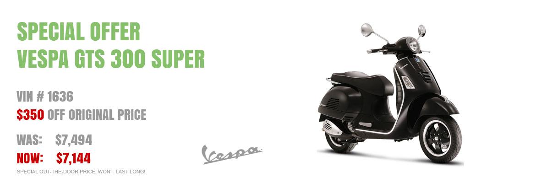 Save $350 on a New 2017 Vespa GTS 300 Super