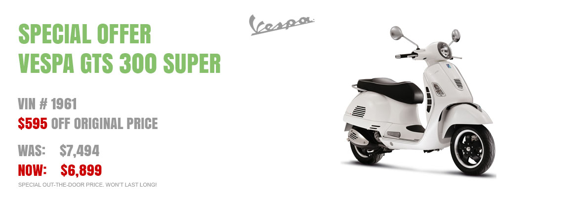 Save $595 on a New 2017 Vespa GTS 300 Super