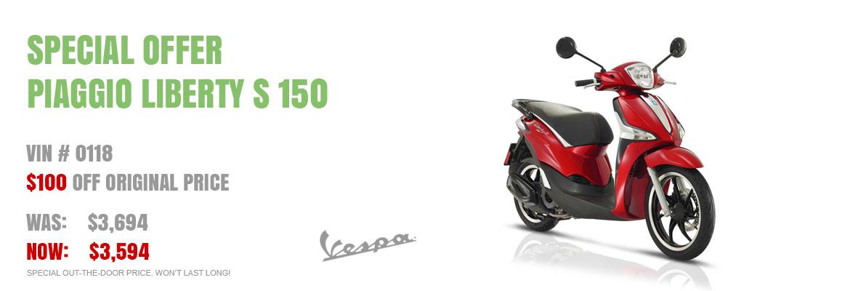 Save $100 Piaggio Liberty S 150