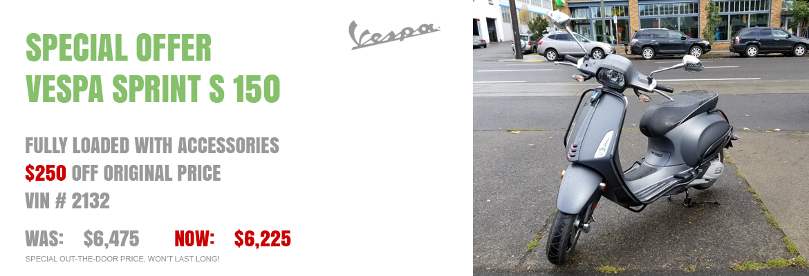 Save $250 on a New 2017 Vespa Sprint S 150 Loaded With Accessories
