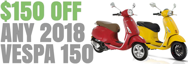 Save $150 on a New 2018 Vespa Primavera or Sprint 150