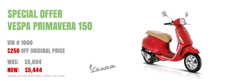 Save $250 on a New 2017 Vespa Primavera 150