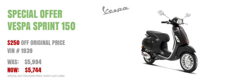 Save $250 on a New 2017 Vespa Sprint 150