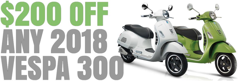 Save $200 on a New 2018 Vespa GTS 300