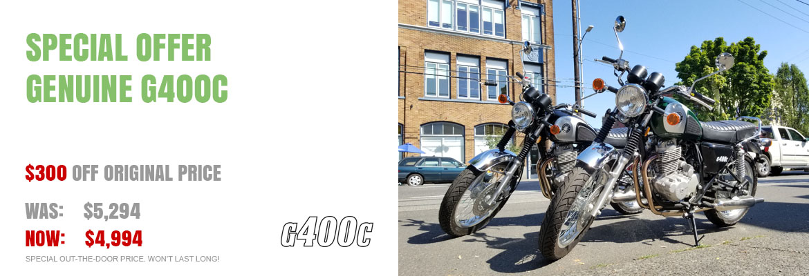Save $300 on a new Genuine G400C motorcycle